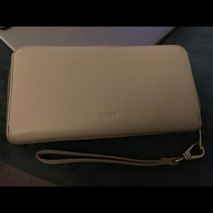 Fossil Emma large zip around wallet mineral Gray